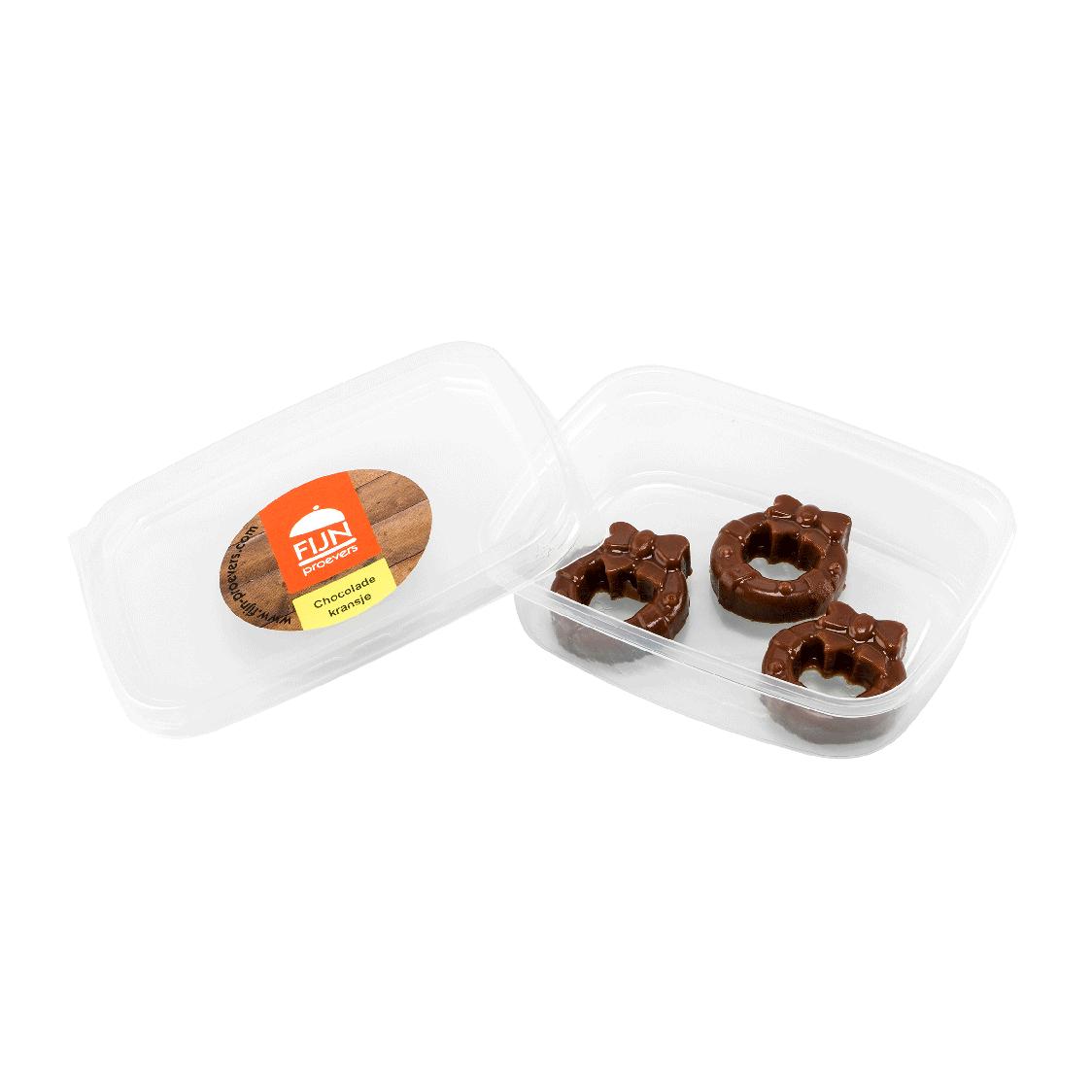 Snacks chocolade kransjes voor slikproblemen eiwitverrijkt van fijnproevers productfoto