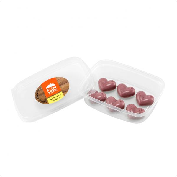 Snacks hartjes bonbons voor slikproblemen eiwitverrijkt van fijnproevers productfoto