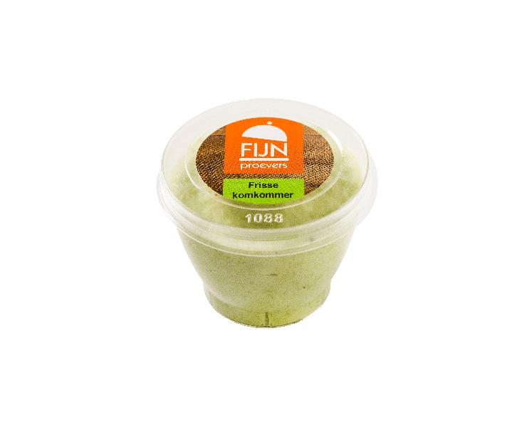 Tussendoortje komkommer mousse voor slikproblemen eiwitverrijkt van fijnproevers